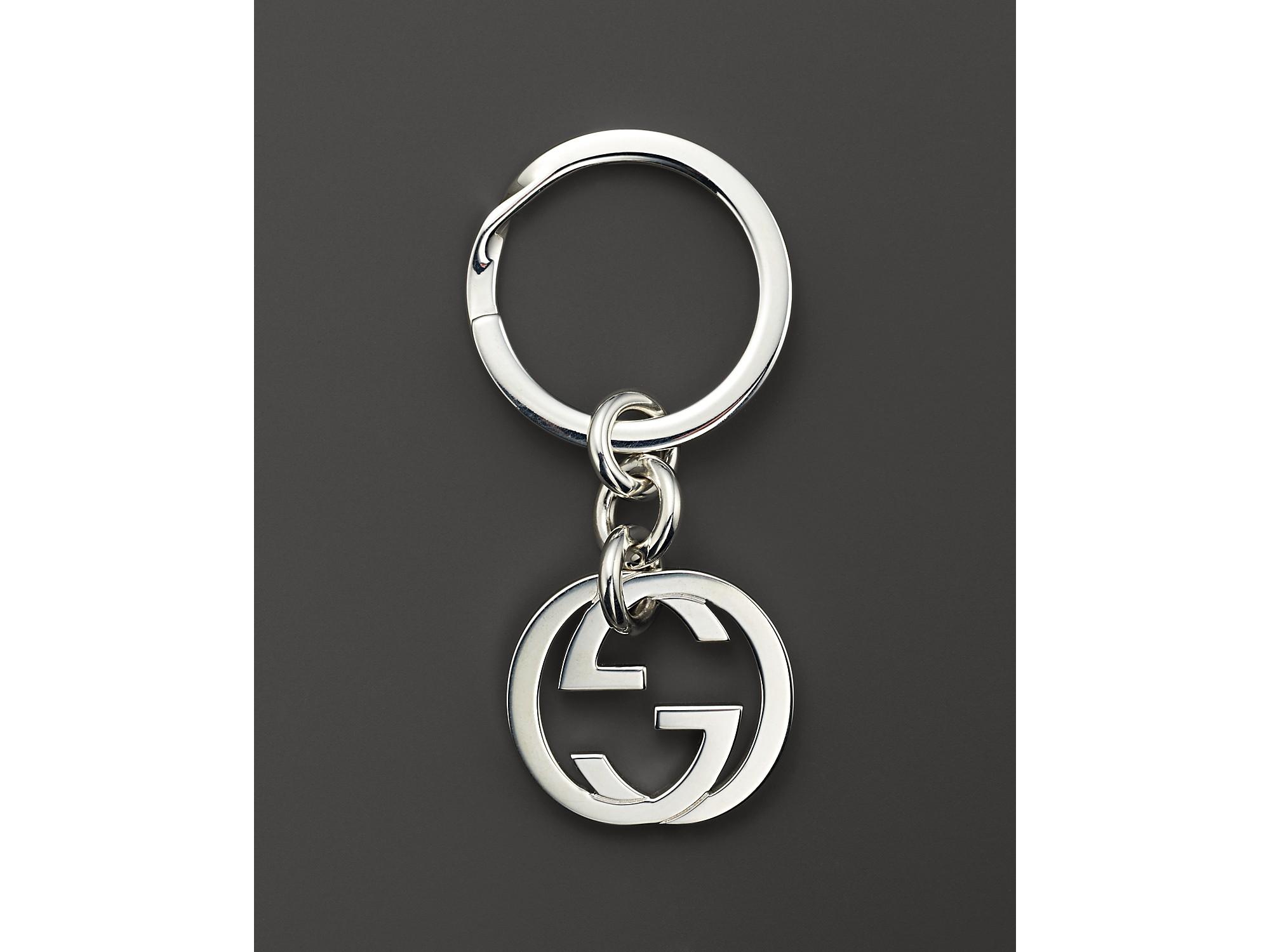 Lyst Gucci Sterling Silver Britt Keychain In White For Men