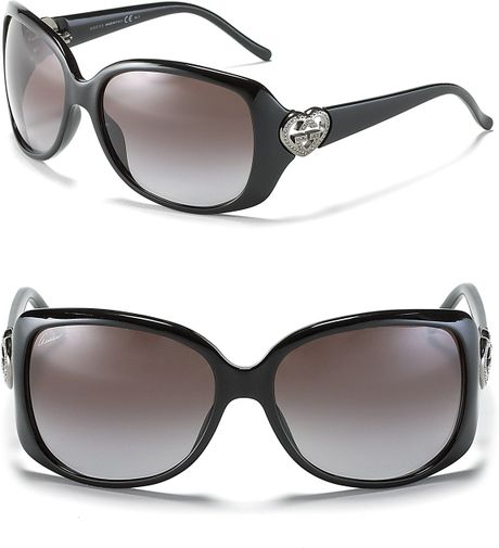 Gucci Oversized Transparent Rounded Square Black Sunglasses in Black (shiny black)