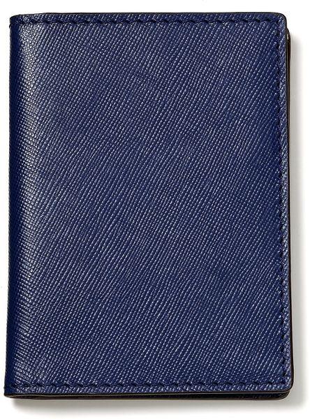 jack spade vertical crosshatch leather bifold wallet in blue for men  blue black white