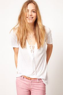 James Perse James Perse Lace Up Slouchy Tshirt - Lyst