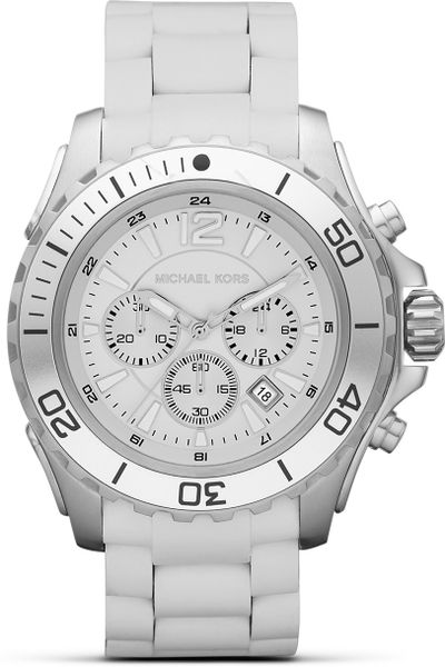 michael kors michael mens silver and white sport