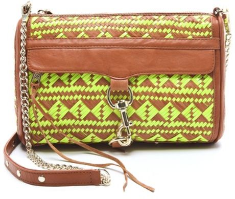 Rebecca Minkoff Woven Leather Mac Bag in Brown (yellow)