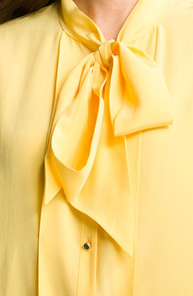Ted Baker Boxy Tie Neck Silk Blouse In Yellow Lemon Lyst