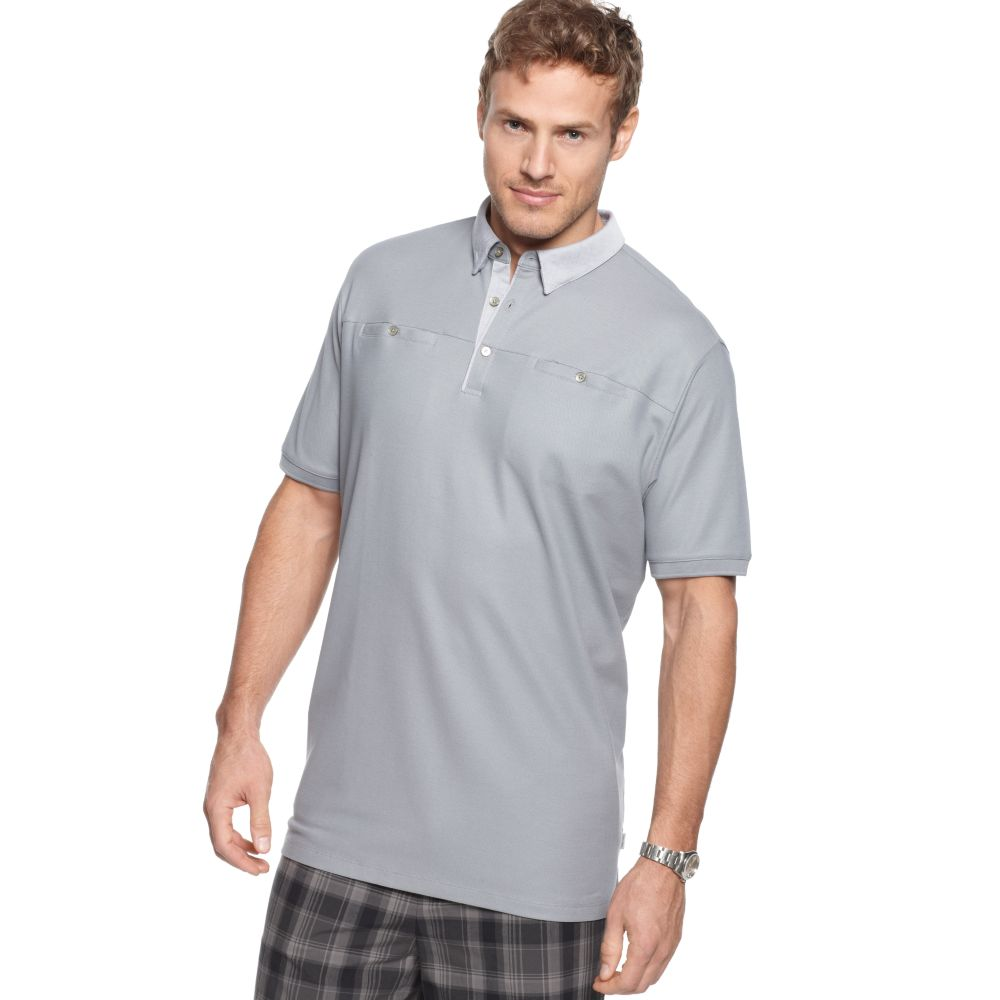 Calvin Klein Big And Tall Pocketed Polo Shirt In Gray For