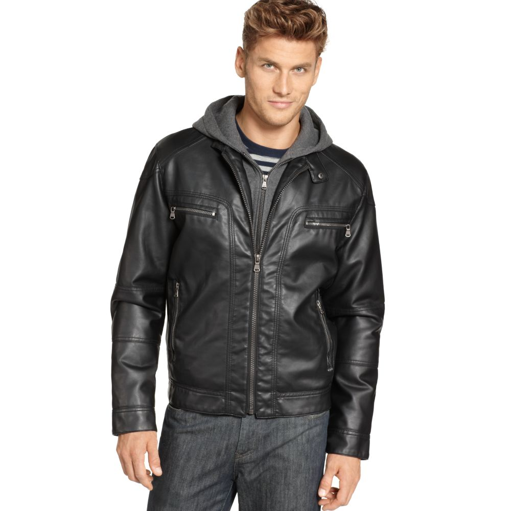 981e3d003 Calvin Klein Leather Jacket With Hood