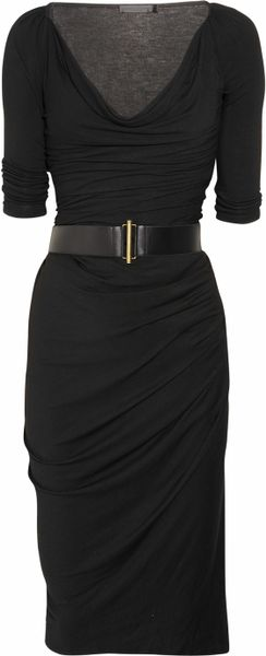 Donna Karan New York Cowl-neck Stretch-jersey Dress in Black