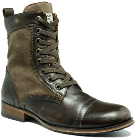 guess alfred leather and canvas boots in brown for
