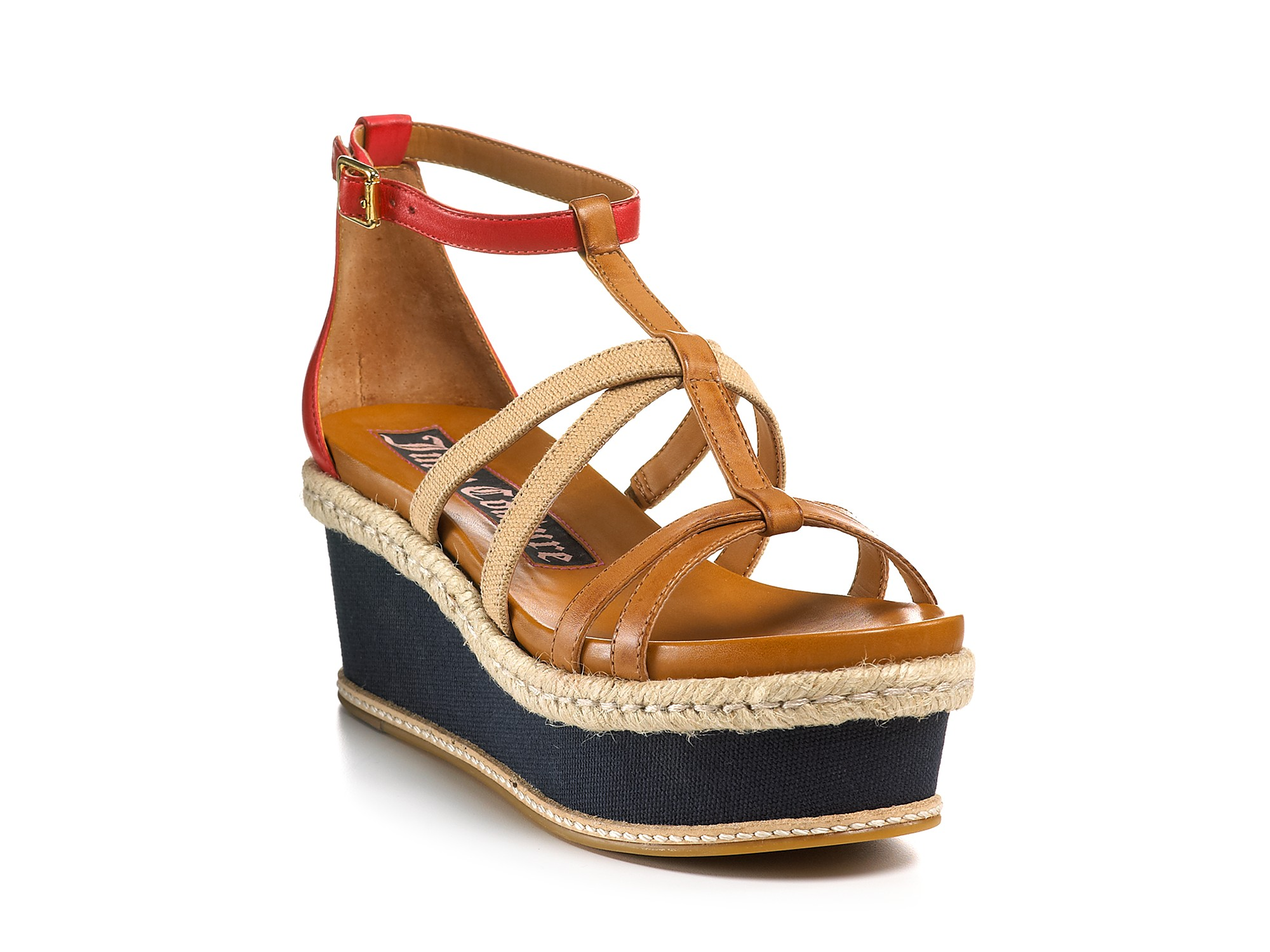 Juicy Couture Sandals Moira Flat Strappy Wedges In Brown