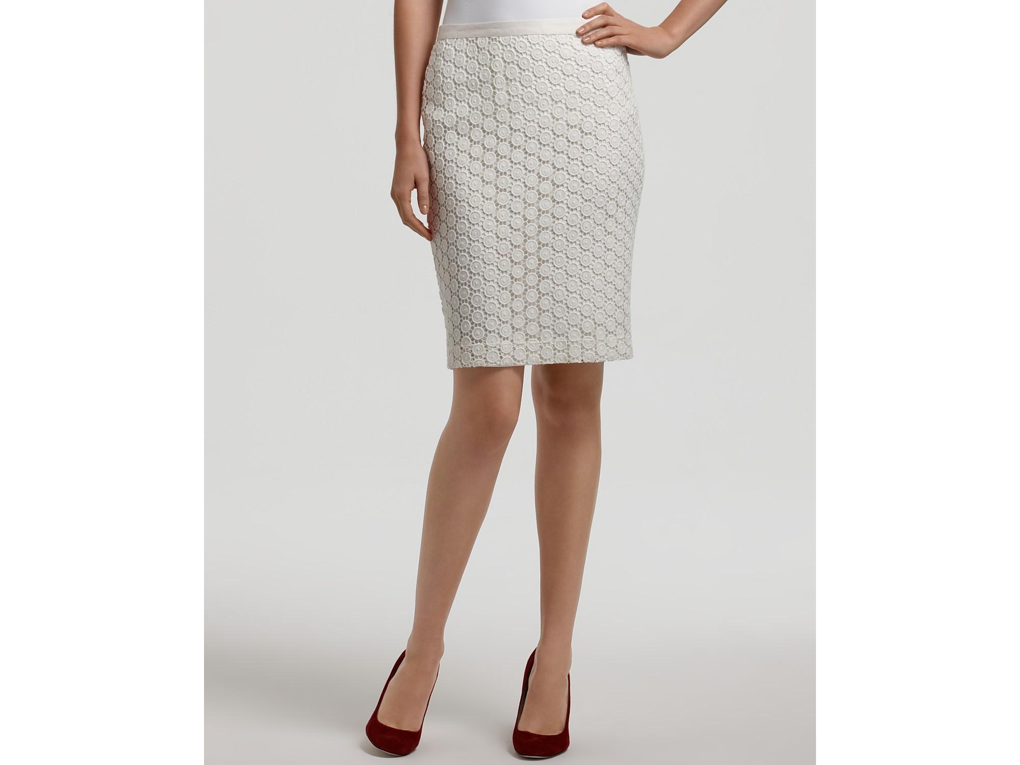 cc8be089cd363 Lyst - Karen Kane Lace Pencil Skirt in White