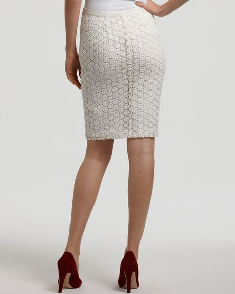 lace pencil skirt in white white lyst