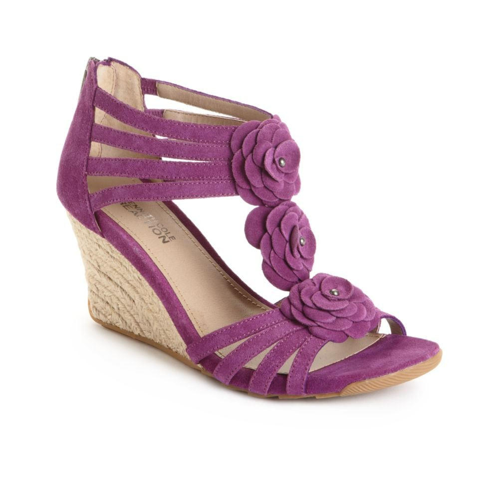 kenneth cole reaction cedar leader wedge sandals in purple
