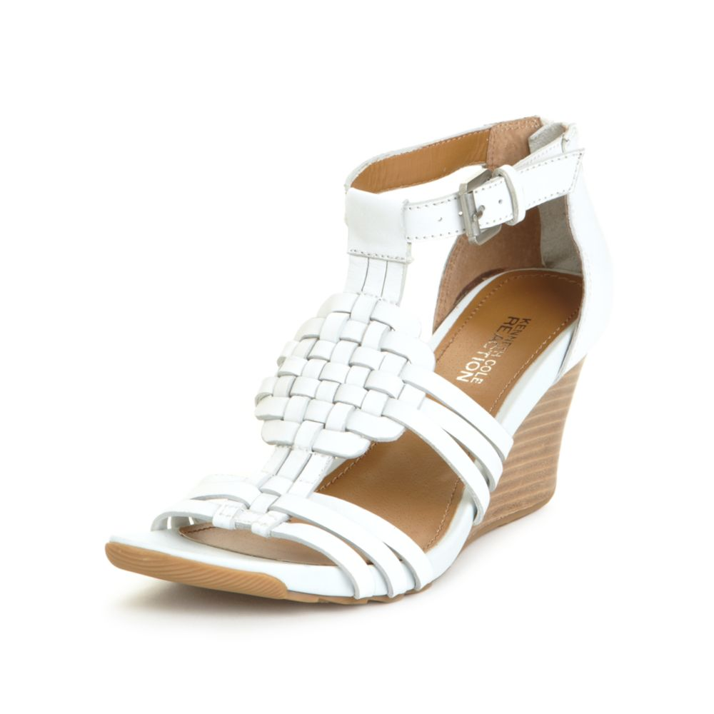 7d2c90511c8 Lyst - Kenneth Cole Reaction Warm Cedar Wedge Sandals in White