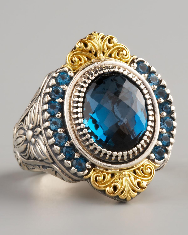 Lyst Konstantino Pave London Blue Topaz Ring In Metallic