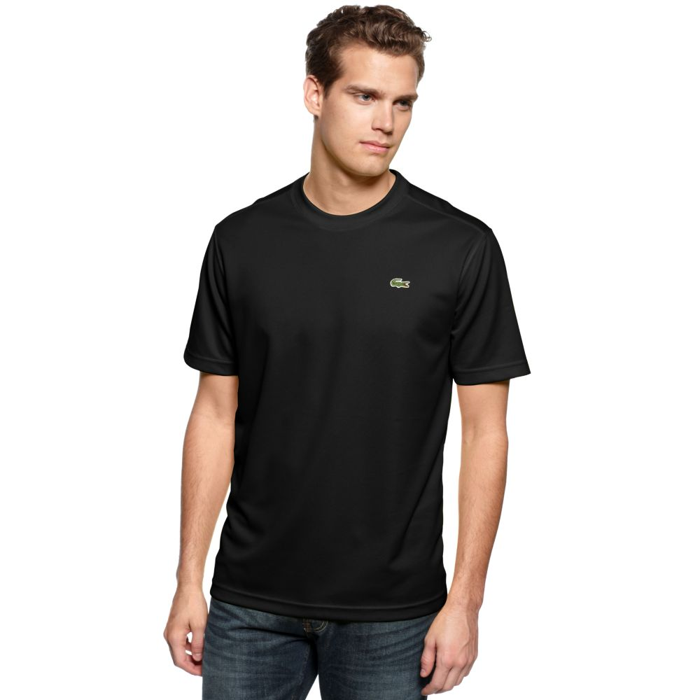 lacoste sleeve t shirt in black for lyst