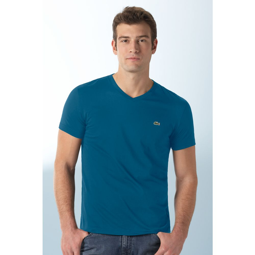 Lacoste Pima Cotton V Neck Tee Shirt In Blue For Men Navy