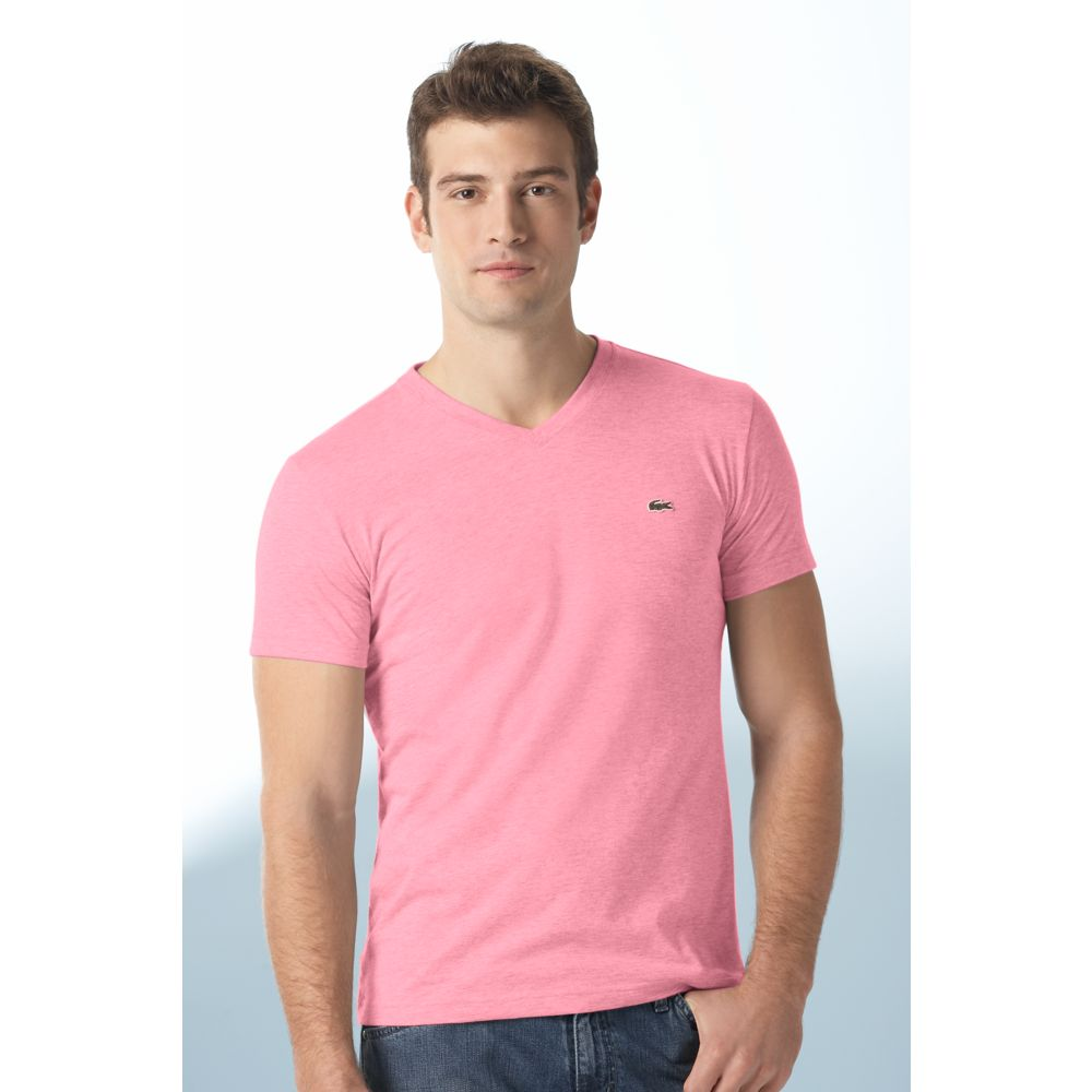 Lyst Lacoste Pima Cotton V Neck Tee Shirt In Pink For Men