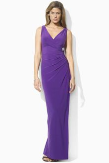 Lauren by Ralph Lauren Sleeveless Vneck Gown - Lyst