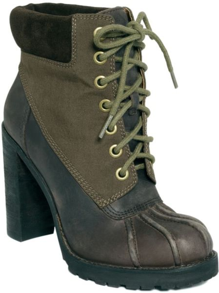 lucky brand laverne high heel duck booties in brown