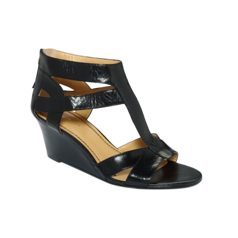 nine west pipin wedge sandals in black lyst