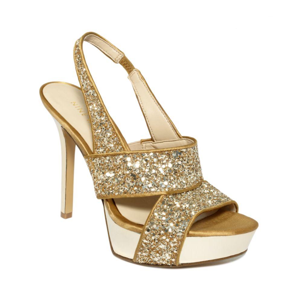 nine west fairgame platform sandals in gold gold glitter