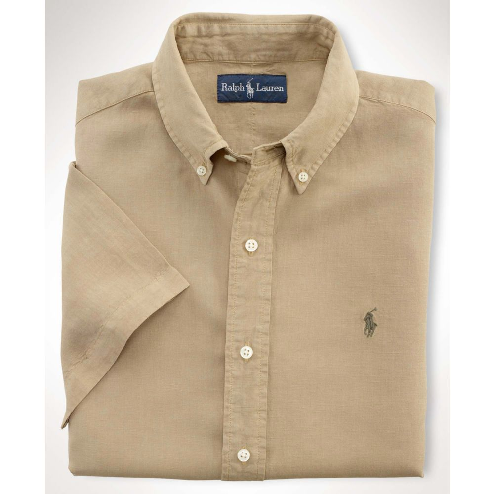 Ralph Lauren Short Sleeved Linen Silk Shirt In Khaki For