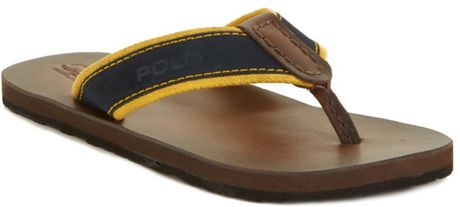Ralph Lauren Seacroft Flip Flops in Blue for Men (navy/yellow) - Lyst