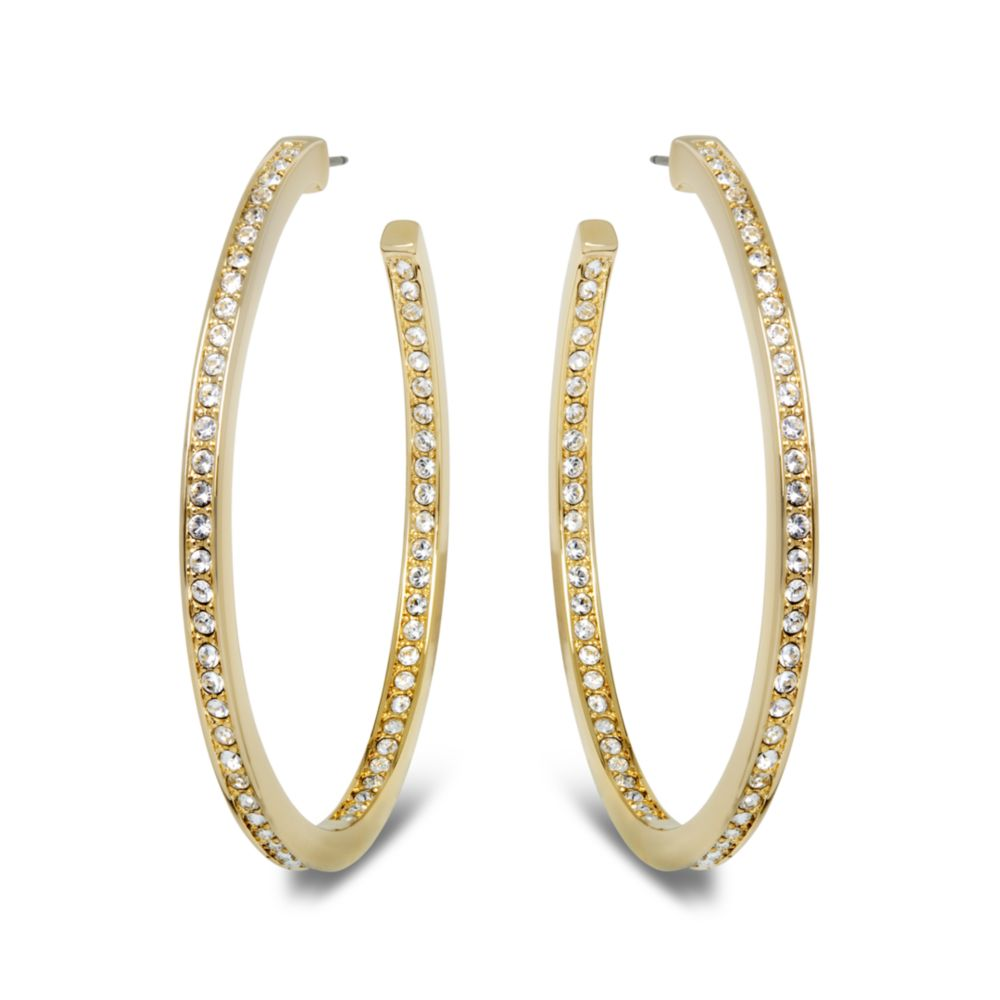 wide selection of colours and designs color brilliancy 2019 original Swarovski Metallic Large Gold Tone Hoop Earrings