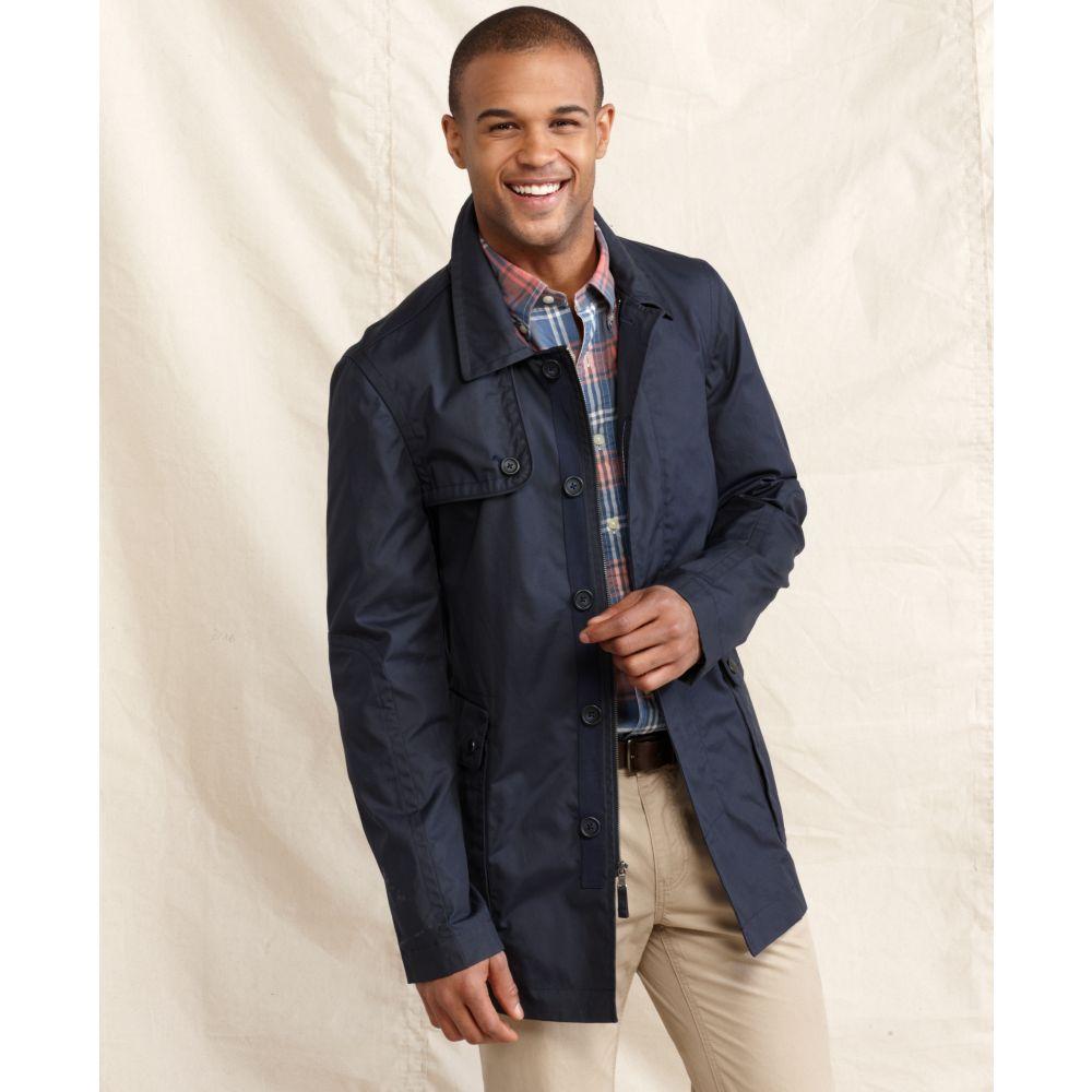 tommy hilfiger draper trench coat in blue for men lyst. Black Bedroom Furniture Sets. Home Design Ideas