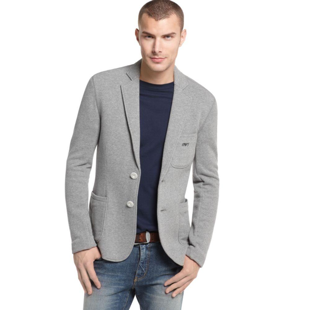 Lyst Armani Jeans Unbrushed Fleece Blazer In Gray For Men