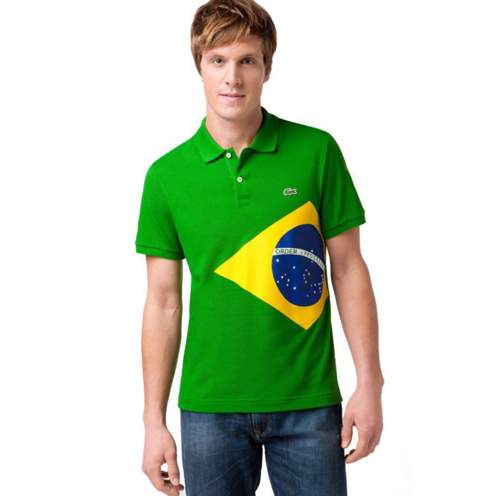 Lacoste brazil flag pique polo shirt in green for men lyst for Boys lacoste polo shirt