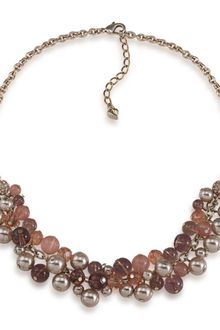 Carolee Cherry Quartz and Glass Pearl Cluster Frontal Necklace - Lyst