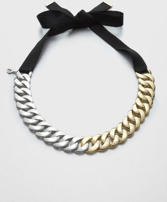 Marc By Marc Jacobs Twotone Chain Link Ribbon Necklace - Lyst