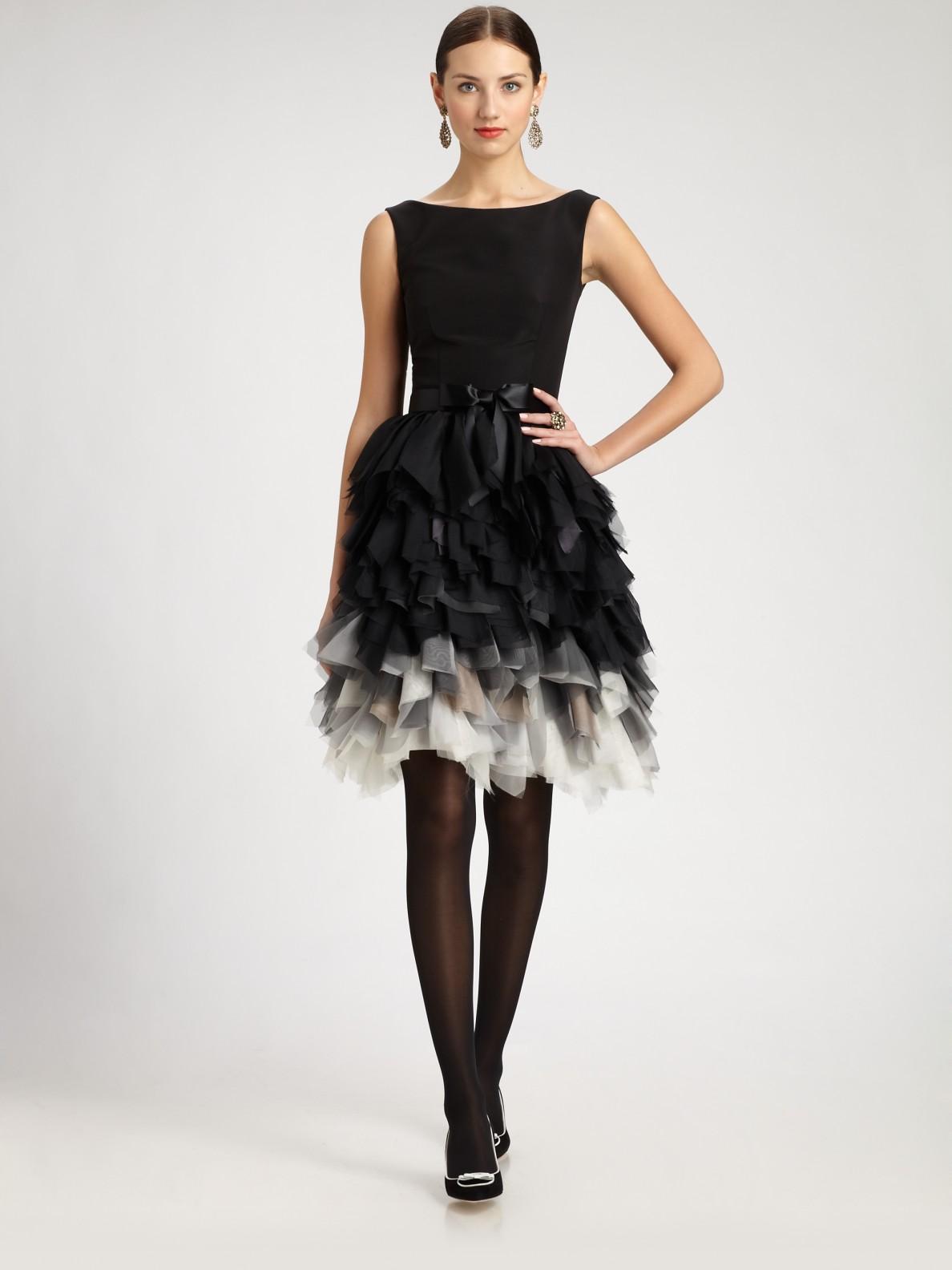 Oscar de la renta Silk Feathered Skirt Dress in Black