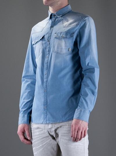b9463eaaa6 Balmain Denim Shirt in Blue for Men - Lyst