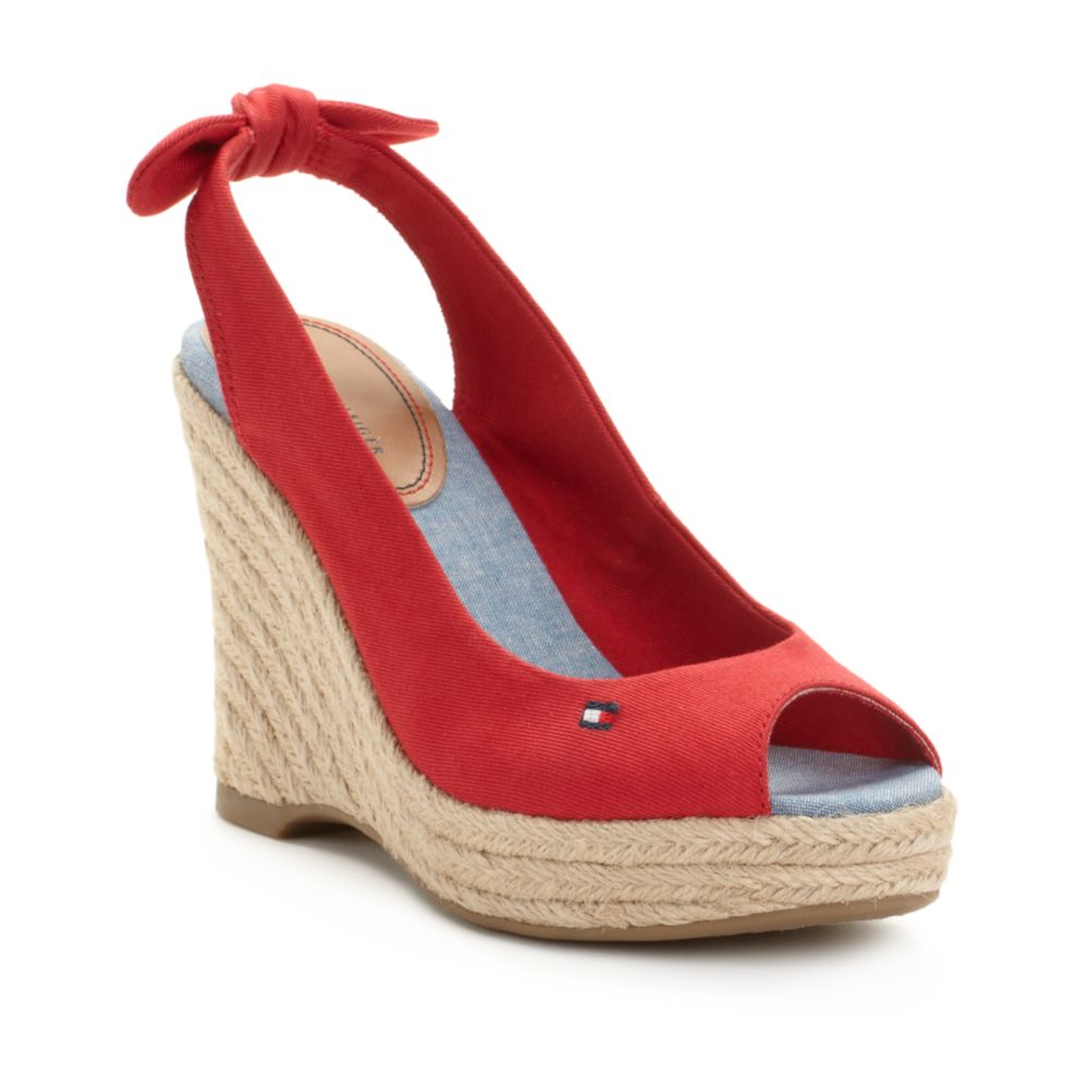 tommy hilfiger hillary espadrille wedge sandals in red lyst. Black Bedroom Furniture Sets. Home Design Ideas