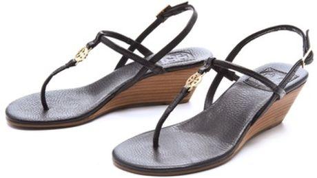 Tory Burch Emmy Wedge Sandals in BlackTory Burch Emmy Wedge Sandals