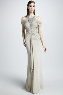 Badgley Mischka Beaded Cold Shoulder Gown - Lyst