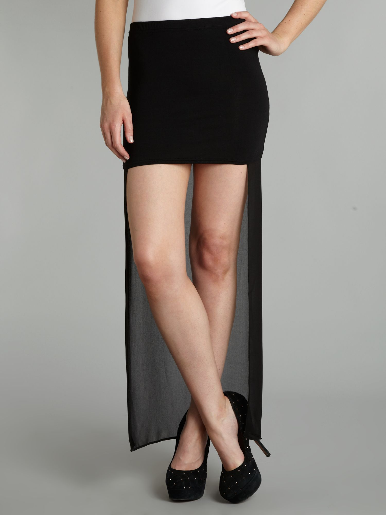 John zack Mini Skirt with Sheer Long Back in Black | Lyst