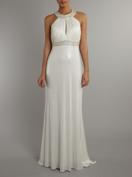 Js Collections Keyhole Beaded Halter Dress In White Lyst
