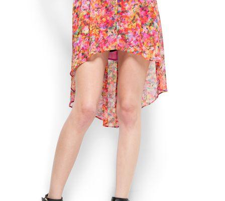 Mango Floral Print Tail Hem Skirt