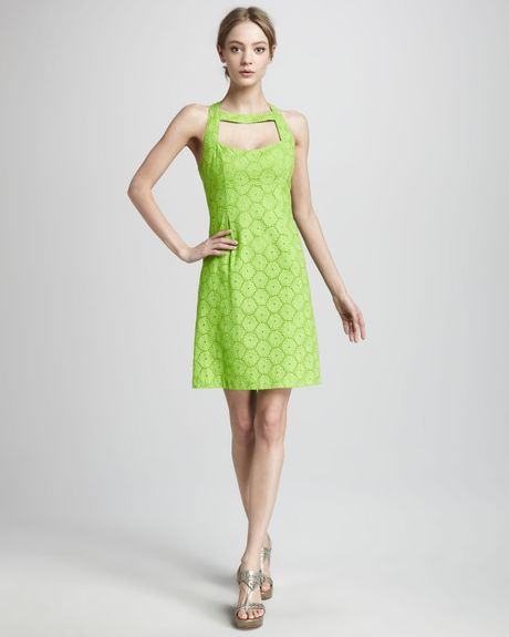 Nanette lepore santa monica eyelet dress green apple in for Apple green dress shirt
