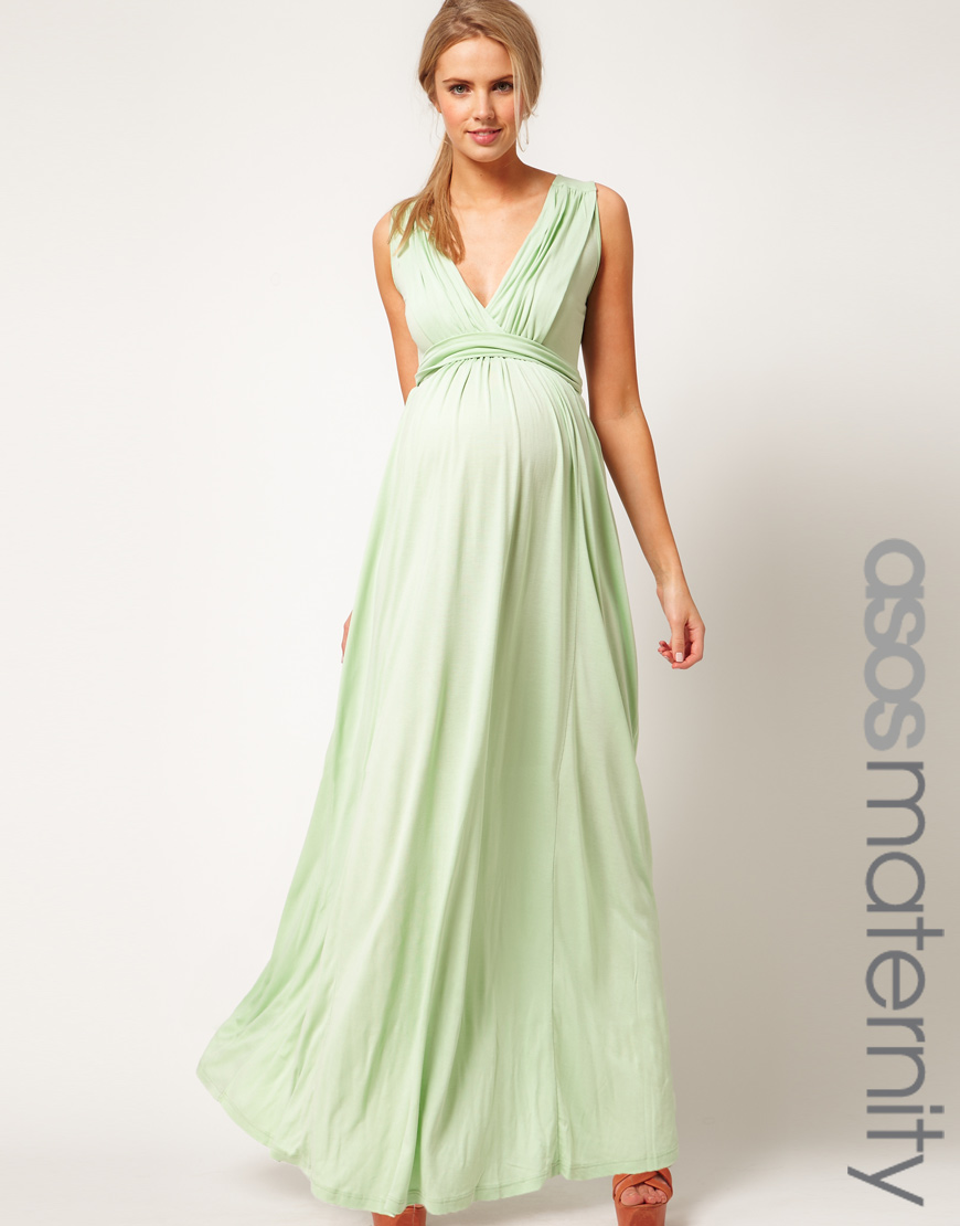 Asos Maternity Maxi Dress In Jersey With Grecian Drape