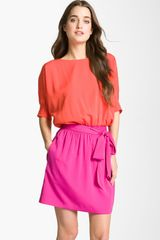 Eliza J Colorblock Dolman Sleeve Crêpe De Chine Dress