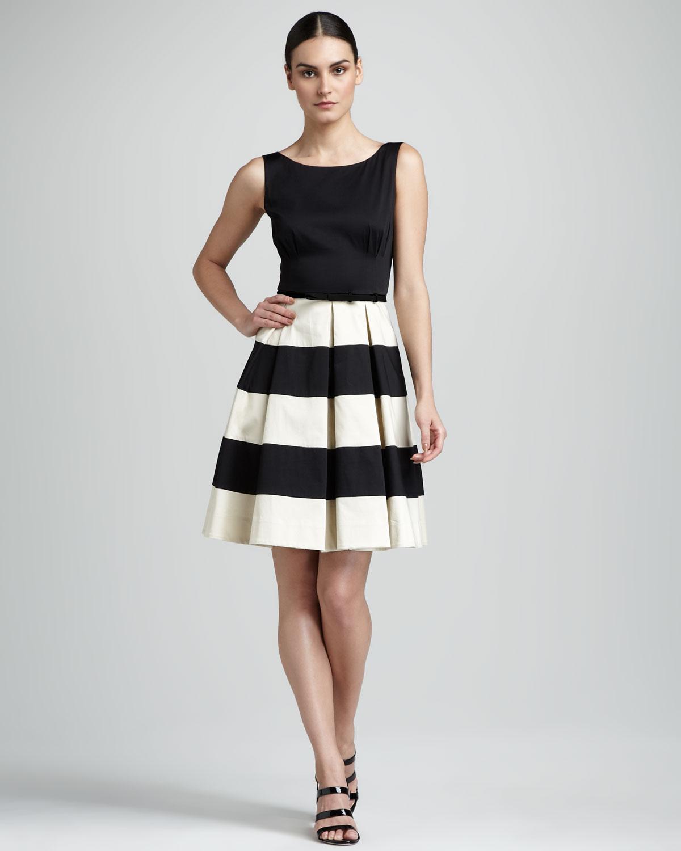 Kate spade celina stripeskirt dress in black black perfect bei