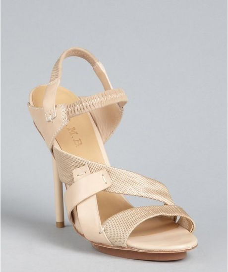 L.a.m.b. Sweet Tan Leather and Fabric Kandis Platform Sandals in Beige (tan) - Lyst