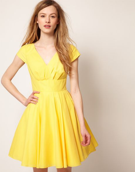 Ted Baker Ted Baker Wrap Front Full Skirt Dress In Yellow