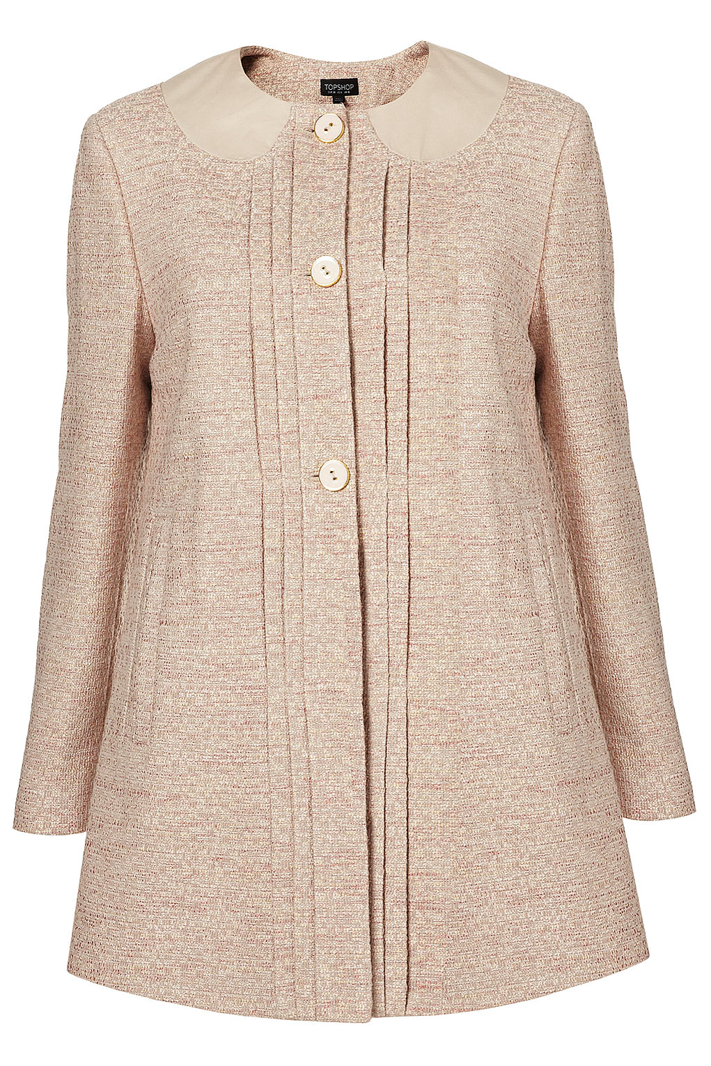 Topshop Lightweight Tweed Swing Coat in Pink | Lyst