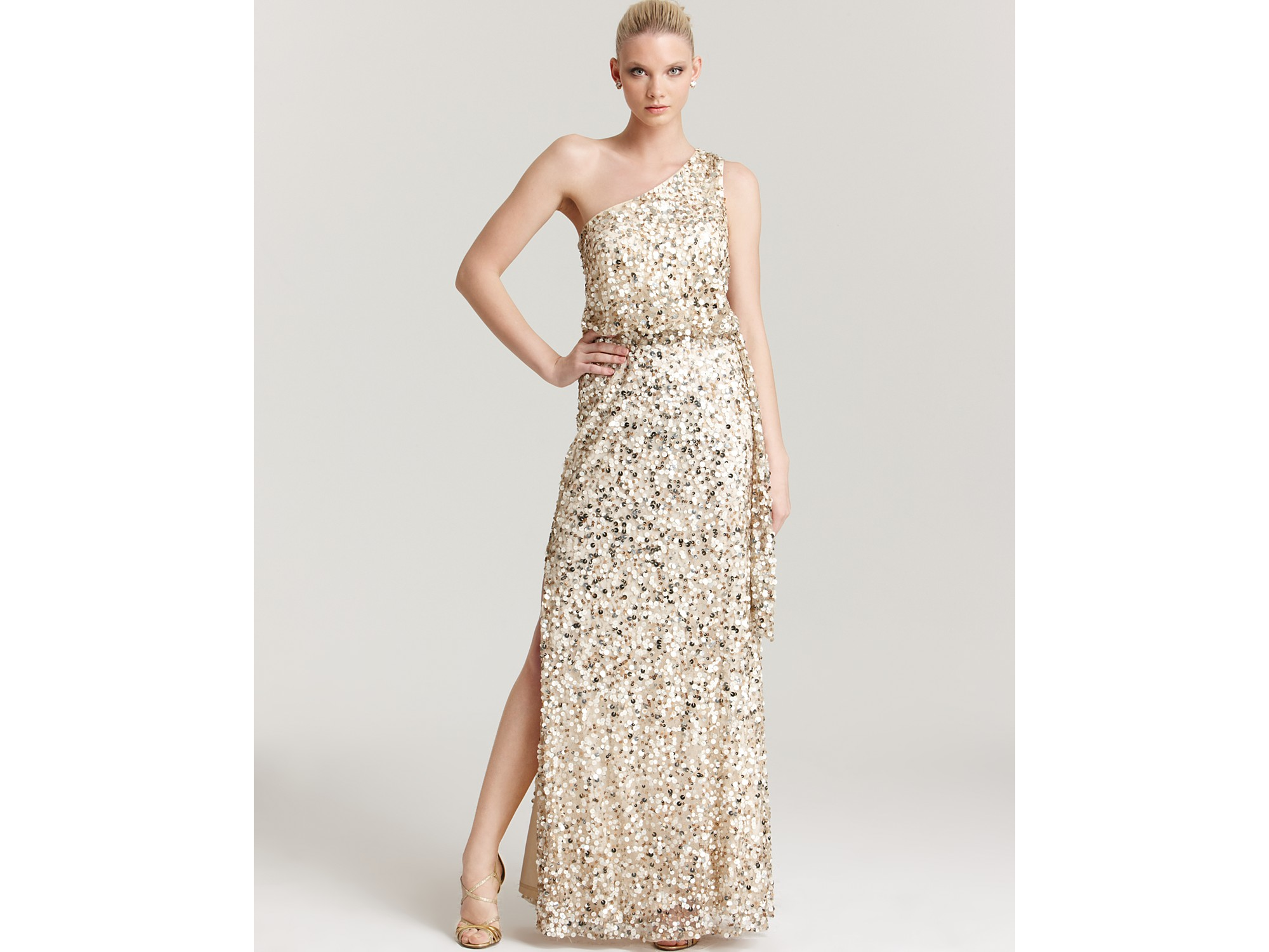 Aidan mattox Sequin Gown One Shoulder in Natural | Lyst