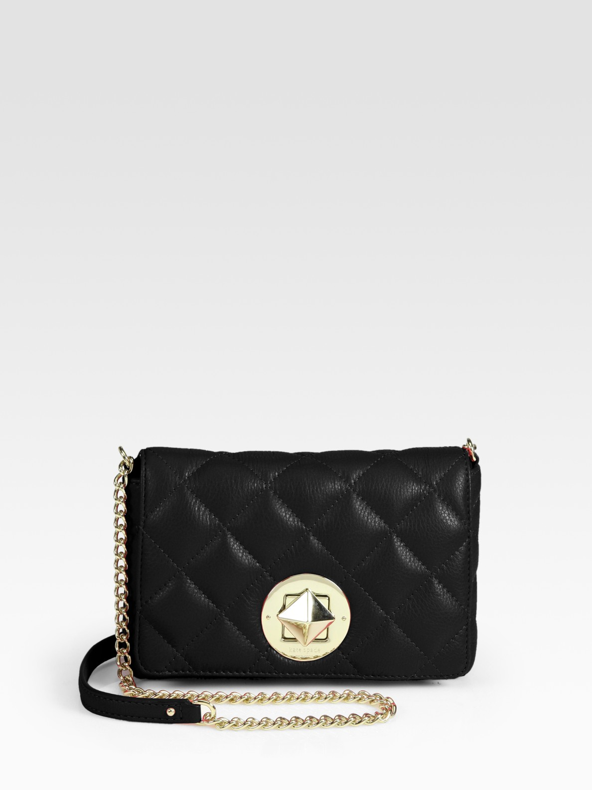 Lyst - Kate Spade Dove Quilted Leather Chain Crossbody in Black a9cfa7456c511