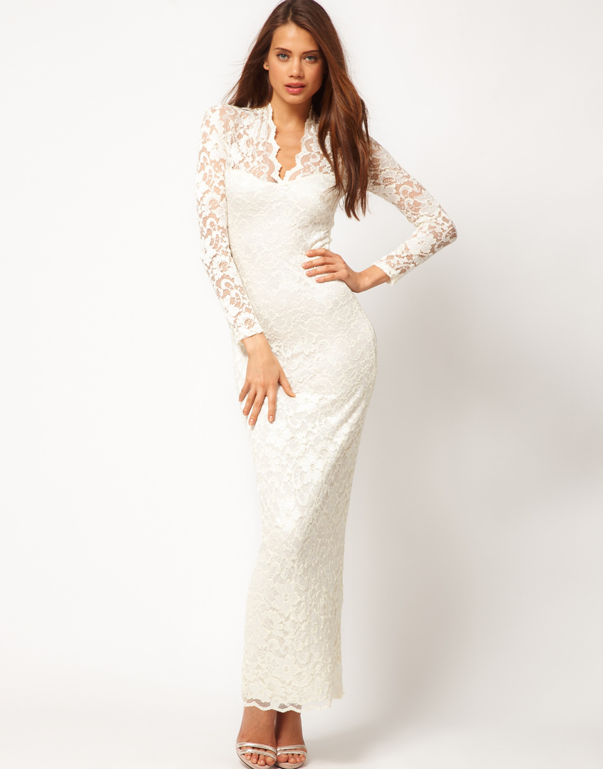 Asos scalloped lace maxi dress